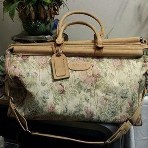 Vintage 1980's Floral Tapestry Carpet Bag Carry On